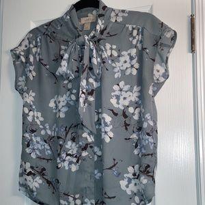 Loft Women Floral Blouse With Neck Tie | Size XSP